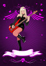 Vector girl with bass guitar Royalty Free Stock Images