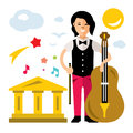 Vector Girl with Cello. Flat style colorful Cartoon illustration.