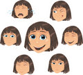 Vector Girl character with various face ecpressio Stock Image