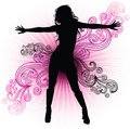 Vector girl dancing in night-club Royalty Free Stock Photo