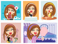 Vector girl and her lifestyle Stock Image