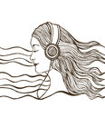 Vector girl listening to music with long hair Stock Images