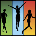 Vector Girl Silhouettes Royalty Free Stock Photo