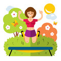 Vector Girl on a Trampoline. Flat style colorful Cartoon illustration.