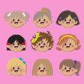 Vector girls avatar set of isolated on pink background Royalty Free Stock Image