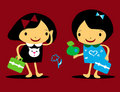 Vector girls back to school icons Royalty Free Stock Photo
