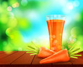 Vector with a glass of carrot juice, carrots standing on a woode