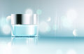 Vector glass jar on bokeh background. Element for modern design,