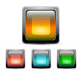Vector glass square buttons with gray frame Royalty Free Stock Photo