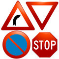 Vector glassy road sign icons Royalty Free Stock Photography