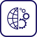 Vector globe and gear icon Stock Photos