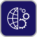 Vector globe and gear icon Stock Images