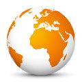 White Vector Globe Icon with Orange Continents - Planet Earth Royalty Free Stock Photo