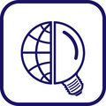 Vector globe and lamp icon Royalty Free Stock Photo
