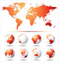 Vector Globe and World Map Royalty Free Stock Photo