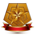 Vector glorious glossy design element luxury d pentagonal gold golden star placed on a decorative blazon conceptual graphic coat Stock Photo