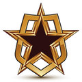 Vector glorious glossy design element luxury d star golden placed in a shield clear eps conceptual graphic refined emblem Stock Photography