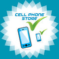 Vector glossy mobile phone store accept icon button sign symbol logo for cell Stock Photography