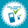 Vector glossy mobile phone store accept icon button sign symbol logo for cell Royalty Free Stock Photography