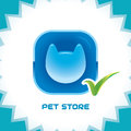 Vector glossy pet shop icon button sign symbol logo blue for business Stock Photo