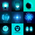 Vector glow in the dark collection set of various glowing objects and symbols illustration Royalty Free Stock Photos