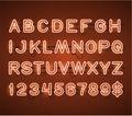 Vector Glowing Orange Neon Bar Alphabet