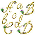 Vector Gold alphabet with gems letters A,B,C,D Stock Photography
