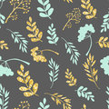 Vector gold and blue seamless pattern. Original floral ornament on dark background. Trendy glitter texture.