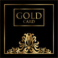 Vector gold card cover design. Excellent Cover template for promotion, business card, beauty, fashion, restaurant Royalty Free Stock Photo