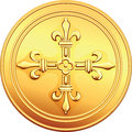 Vector gold coin french ecu reverse old with the image of a flowering crowns cross Stock Photography