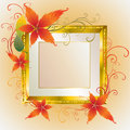 Vector gold frame with Autumn Leafs. Thanksgiving Stock Images