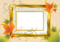 Vector gold frame with Autumn Leafs. Thanksgiving Royalty Free Stock Image