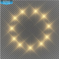 Vector gold glitter wave illustration. Gold star dust trail sparkling particles isolated on transparent background.