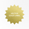 Vector gold label star multi point golden glitter texture vector isolated icon Royalty Free Stock Photo