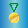 Vector gold medal on green ribbon Royalty Free Stock Photo