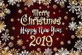Vector gold Merry christmas greetings and Happy new year 2019 dark red background. golden snowflakes Royalty Free Stock Photo