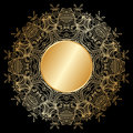 Vector gold ornament floral round with place for text Royalty Free Stock Image
