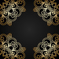 Vector gold ornament illustration with vintage floral Royalty Free Stock Images