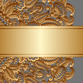 Vector gold ornament vintage floral with place for text Stock Images