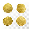 Vector gold paint circle smear stain texture set.