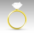 Vector gold ring with diamond illustration Royalty Free Stock Images
