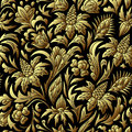 Vector gold seamless pattern, floral texture.