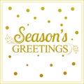 Vector gold seasons greetings card design. Royalty Free Stock Photo
