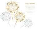 Vector gold and silver fireworks on white background. Royalty Free Stock Photo