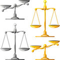 vector Gold and silver scales of justice Royalty Free Stock Photo