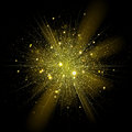Vector gold star sparkles in explosion. Glittering shining particles in starry space