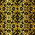 Vector Golden On Black Abstract Kaleidoscope Triangles Grunge Foil Texture Seamless Pattern Background. Great for
