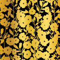 Vector Golden Black Flowers Blossoms Kimono Seamless Pattern Background.