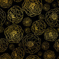 Vector Golden On Black Peony Flowers Summer Seamless Pattern Background. Great for elegant gold texture fabric, cards