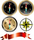 Vector golden compass set Stock Image